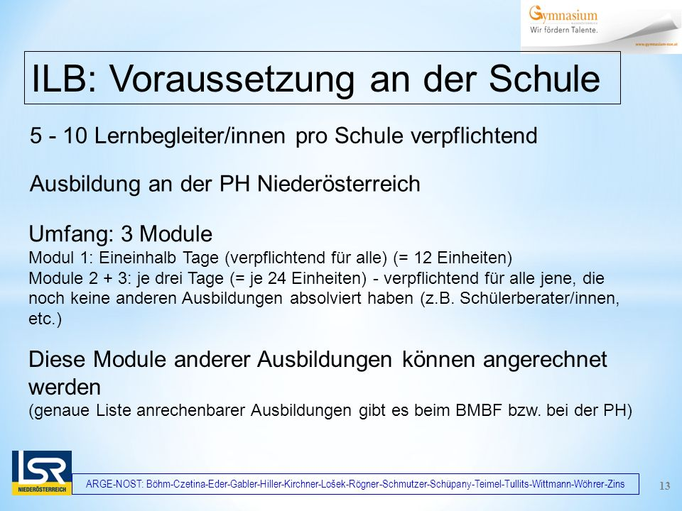 ARGE-NOST: Böhm-Czetina-Eder-Gabler-Hiller-Kirchner-Lošek-Rögner-Schmutzer-Schüpany-Teimel-Tullits-Wittmann-Wöhrer-Zins 5 - 10 Lernbegleiter/innen pro Schule verpflichtend ILB: Voraussetzung an der Schule Ausbildung an der PH Niederösterreich 13 Umfang: 3 Module Modul 1: Eineinhalb Tage (verpflichtend für alle) (= 12 Einheiten) Module 2 + 3: je drei Tage (= je 24 Einheiten) - verpflichtend für alle jene, die noch keine anderen Ausbildungen absolviert haben (z.B.