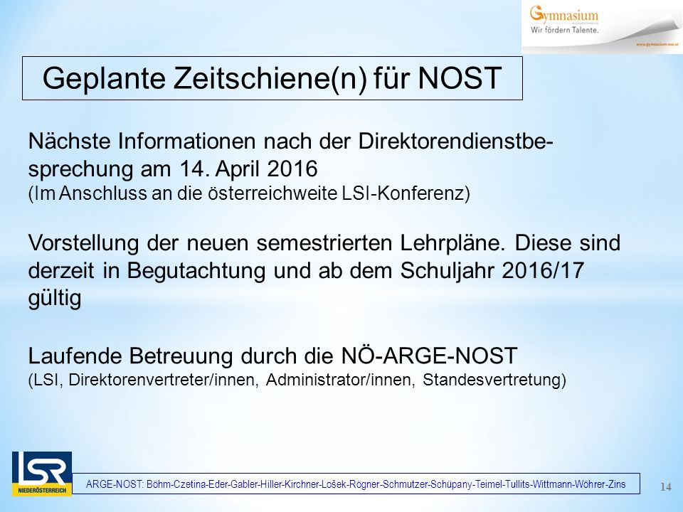 ARGE-NOST: Böhm-Czetina-Eder-Gabler-Hiller-Kirchner-Lošek-Rögner-Schmutzer-Schüpany-Teimel-Tullits-Wittmann-Wöhrer-Zins Nächste Informationen nach der Direktorendienstbe- sprechung am 14.