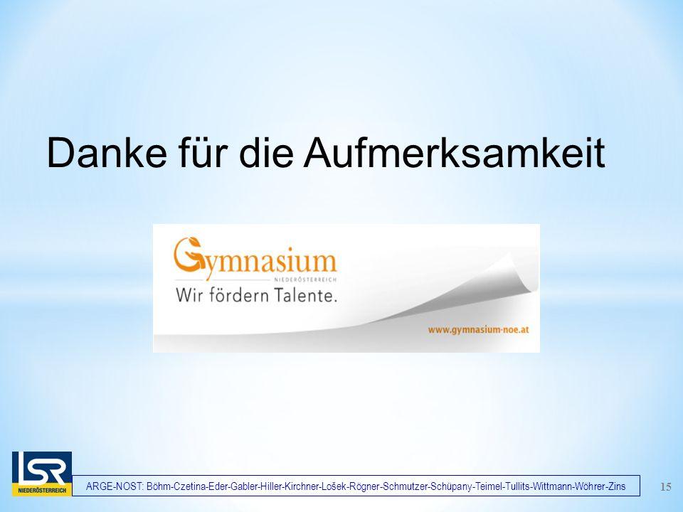 ARGE-NOST: Böhm-Czetina-Eder-Gabler-Hiller-Kirchner-Lošek-Rögner-Schmutzer-Schüpany-Teimel-Tullits-Wittmann-Wöhrer-Zins Danke für die Aufmerksamkeit 15