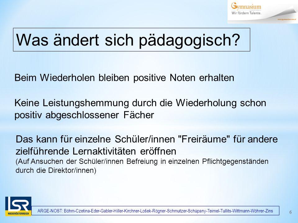 ARGE-NOST: Böhm-Czetina-Eder-Gabler-Hiller-Kirchner-Lošek-Rögner-Schmutzer-Schüpany-Teimel-Tullits-Wittmann-Wöhrer-Zins Beim Wiederholen bleiben positive Noten erhalten Was ändert sich pädagogisch.