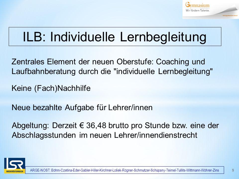 ARGE-NOST: Böhm-Czetina-Eder-Gabler-Hiller-Kirchner-Lošek-Rögner-Schmutzer-Schüpany-Teimel-Tullits-Wittmann-Wöhrer-Zins Zentrales Element der neuen Oberstufe: Coaching und Laufbahnberatung durch die individuelle Lernbegleitung ILB: Individuelle Lernbegleitung Keine (Fach)Nachhilfe Neue bezahlte Aufgabe für Lehrer/innen 8 Abgeltung: Derzeit € 36,48 brutto pro Stunde bzw.