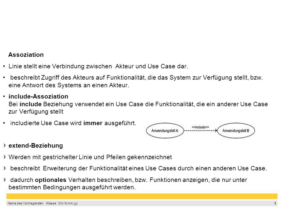 3 Name des Vortragenden  Klasse  Ort / tt.mm.jjjj Assoziation Linie stellt eine Verbindung zwischen Akteur und Use Case dar.