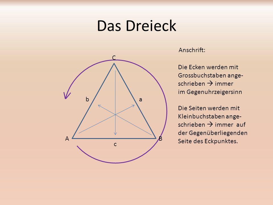 Das Dreieck Anschrift: A C B Die Ecken werden mit Grossbuchstaben ange- schrieben  immer im Gegenuhrzeigersinn Die Seiten werden mit Kleinbuchstaben