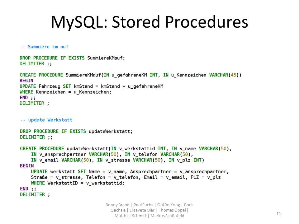 MySQL: Stored Procedures Benny Brand | Paul Fuchs | Gui Ro Kong | Boris Oechsle | Elizaveta Olar | Thomas Oppel | Matthias Schmitt | Markus Schönfeld
