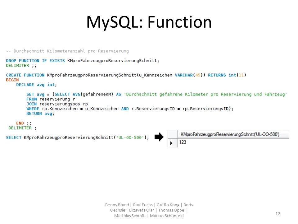 MySQL: Function Benny Brand | Paul Fuchs | Gui Ro Kong | Boris Oechsle | Elizaveta Olar | Thomas Oppel | Matthias Schmitt | Markus Schönfeld 12