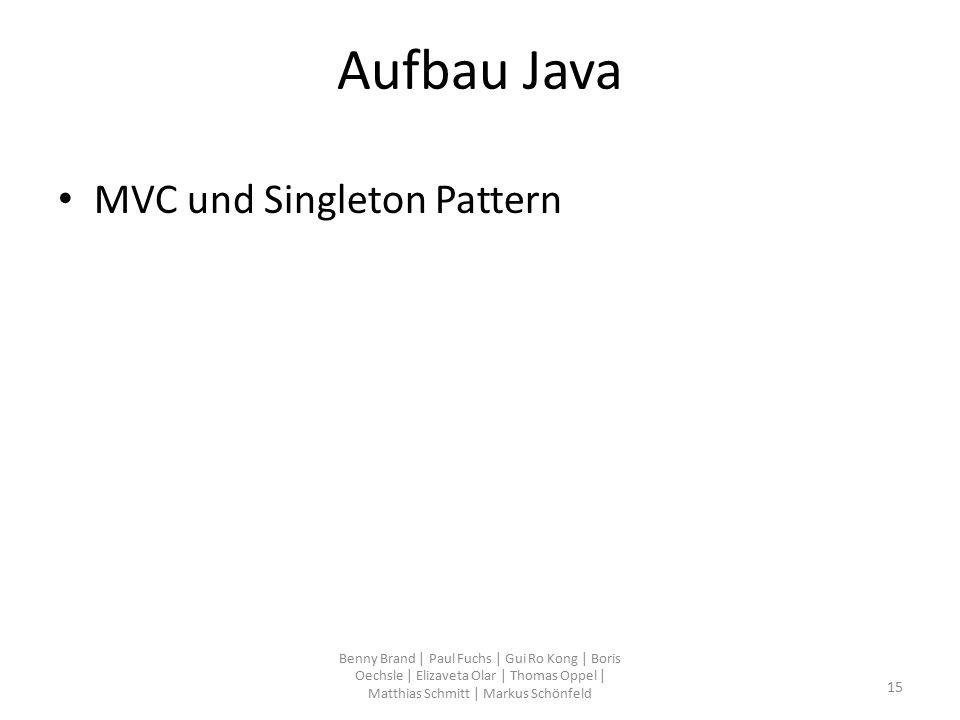 Aufbau Java MVC und Singleton Pattern Benny Brand | Paul Fuchs | Gui Ro Kong | Boris Oechsle | Elizaveta Olar | Thomas Oppel | Matthias Schmitt | Mark