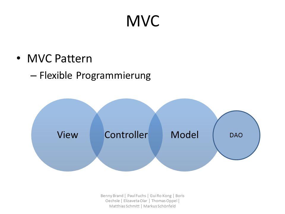 MVC MVC Pattern – Flexible Programmierung Benny Brand | Paul Fuchs | Gui Ro Kong | Boris Oechsle | Elizaveta Olar | Thomas Oppel | Matthias Schmitt | Markus Schönfeld ViewControllerModel DAO