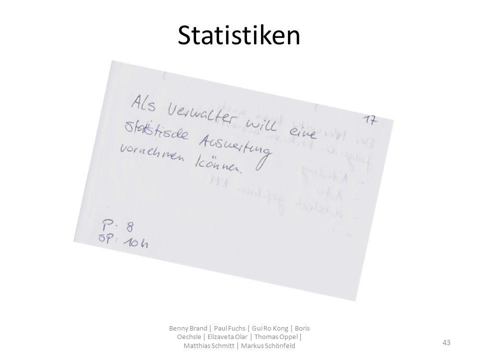 Statistiken Benny Brand | Paul Fuchs | Gui Ro Kong | Boris Oechsle | Elizaveta Olar | Thomas Oppel | Matthias Schmitt | Markus Schönfeld 43