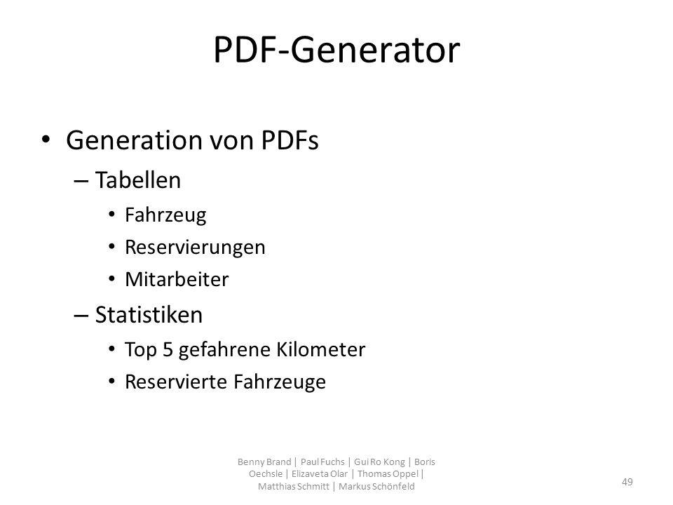 PDF-Generator Generation von PDFs – Tabellen Fahrzeug Reservierungen Mitarbeiter – Statistiken Top 5 gefahrene Kilometer Reservierte Fahrzeuge Benny B