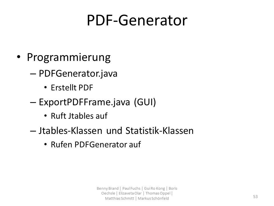 PDF-Generator Programmierung – PDFGenerator.java Erstellt PDF – ExportPDFFrame.java (GUI) Ruft Jtables auf – Jtables-Klassen und Statistik-Klassen Ruf