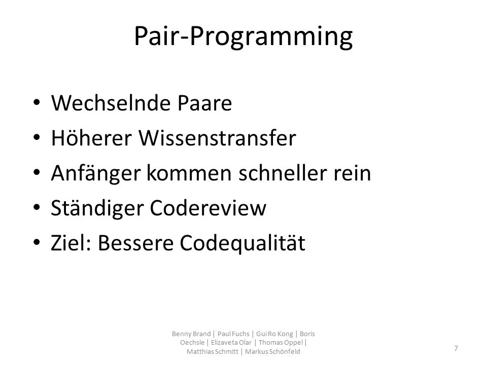 package com.hsulm.wf5.fleetmanagement.controller.FahrzeugController.java public void Fahrzeuginit() { MainGUI.getInstance().getTable_2().setRowSorter(null); MainGUI.getInstance().sucheFahrzeug.setText( ); MainGUI.getInstance().set_fahrzeugsucheListener(new fahrzeug_sucheListener()); } class fahrzeug_sucheListener implements KeyListener{ public void keyReleased(KeyEvent e) { TableRowSorter sorter = new TableRowSorter (MainGUI.getInstance().getTable_2().getModel()); MainGUI.getInstance().getTable_2().setRowSorter(sorter); filter(MainGUI.getInstance().sucheFahrzeug.getText(),sorter); } public void filter (String text,TableRowSorter sorter) { if (text.length() == 0) { sorter.setRowFilter(null); } else { try { sorter.setRowFilter(RowFilter.regexFilter( (?i) +text)); } catch (PatternSyntaxException e) { System.out.println(e.getPattern()); } Benny Brand   Paul Fuchs   Gui Ro Kong   Boris Oechsle   Elizaveta Olar   Thomas Oppel   Matthias Schmitt   Markus Schönfeld 28