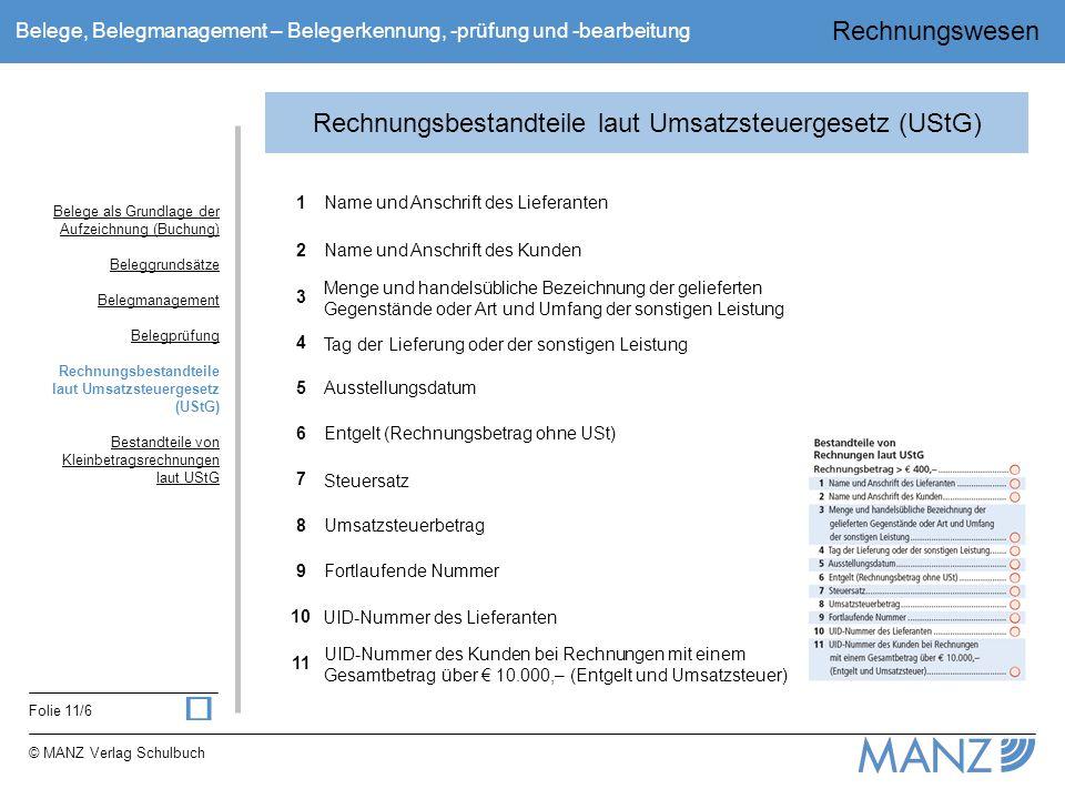 Rechnungswesen Folie 11/6 © MANZ Verlag Schulbuch Belege, Belegmanagement – Belegerkennung, -prüfung und -bearbeitung Rechnungsbestandteile laut Umsat