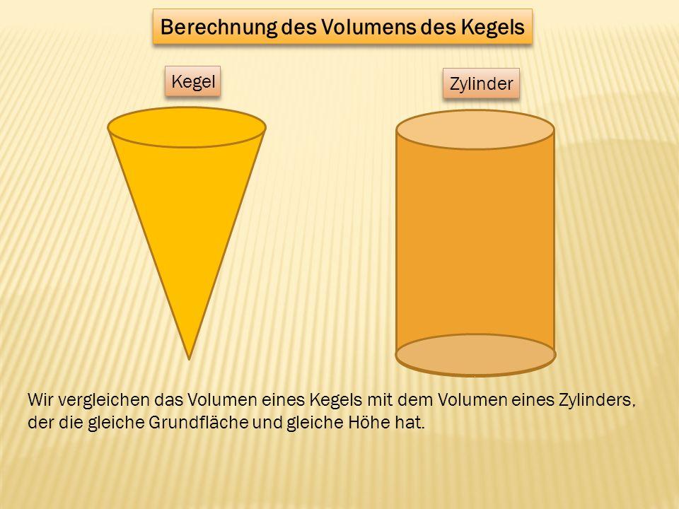 Kegel Zylinder Wir vergleichen das Volumen eines Kegels mit dem Volumen eines Zylinders, der die gleiche Grundfläche und gleiche Höhe hat. Berechnung