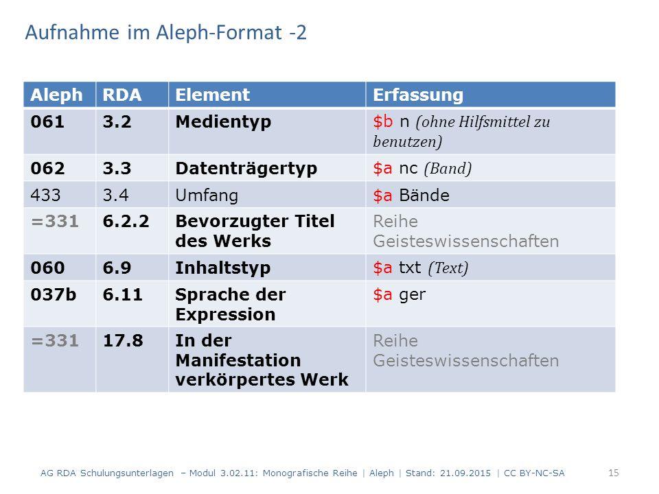 Aufnahme im Aleph-Format -2 AG RDA Schulungsunterlagen – Modul 3.02.11: Monografische Reihe | Aleph | Stand: 21.09.2015 | CC BY-NC-SA 15 AlephRDAEleme