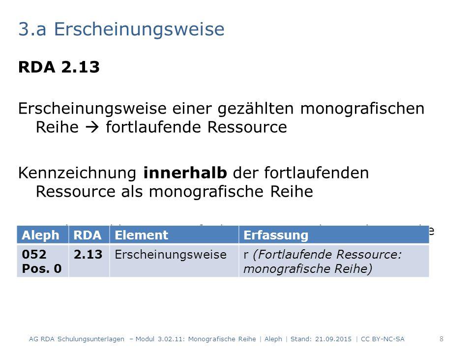 3.a Erscheinungsweise RDA 2.13 Erscheinungsweise einer gezählten monografischen Reihe  fortlaufende Ressource Kennzeichnung innerhalb der fortlaufend