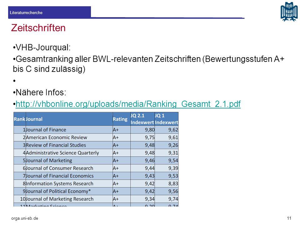 Zeitschriften VHB-Jourqual: Gesamtranking aller BWL-relevanten Zeitschriften (Bewertungsstufen A+ bis C sind zulässig) Nähere Infos: http://vhbonline.