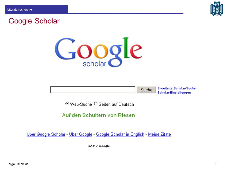 Google Scholar orga.uni-sb.de Literaturrecherche 13