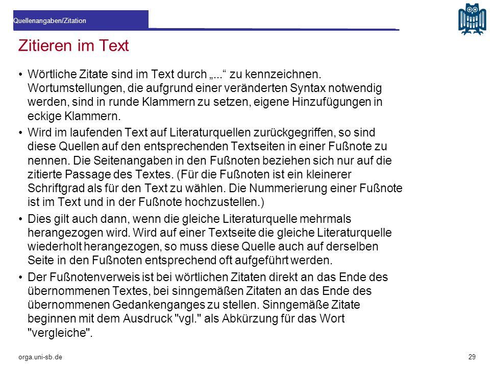 """Zitieren im Text Wörtliche Zitate sind im Text durch """"..."""" zu kennzeichnen. Wortumstellungen, die aufgrund einer veränderten Syntax notwendig werden,"""