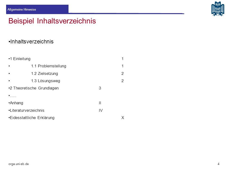 Beispiel Inhaltsverzeichnis Inhaltsverzeichnis 1 Einleitung1 1.1 Problemstellung1 1.2 Zielsetzung2 1.3 Lösungsweg2 2 Theoretische Grundlagen3 ….. Anha