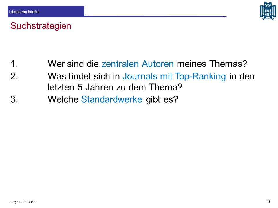 Suchstrategien orga.uni-sb.de 1.Wer sind die zentralen Autoren meines Themas? 2.Was findet sich in Journals mit Top-Ranking in den letzten 5 Jahren zu