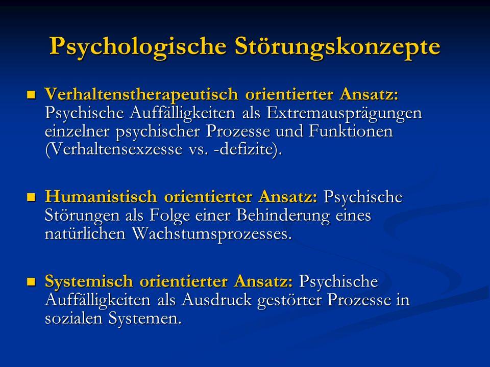 Psychologische Störungskonzepte Verhaltenstherapeutisch orientierter Ansatz: Psychische Auffälligkeiten als Extremausprägungen einzelner psychischer P
