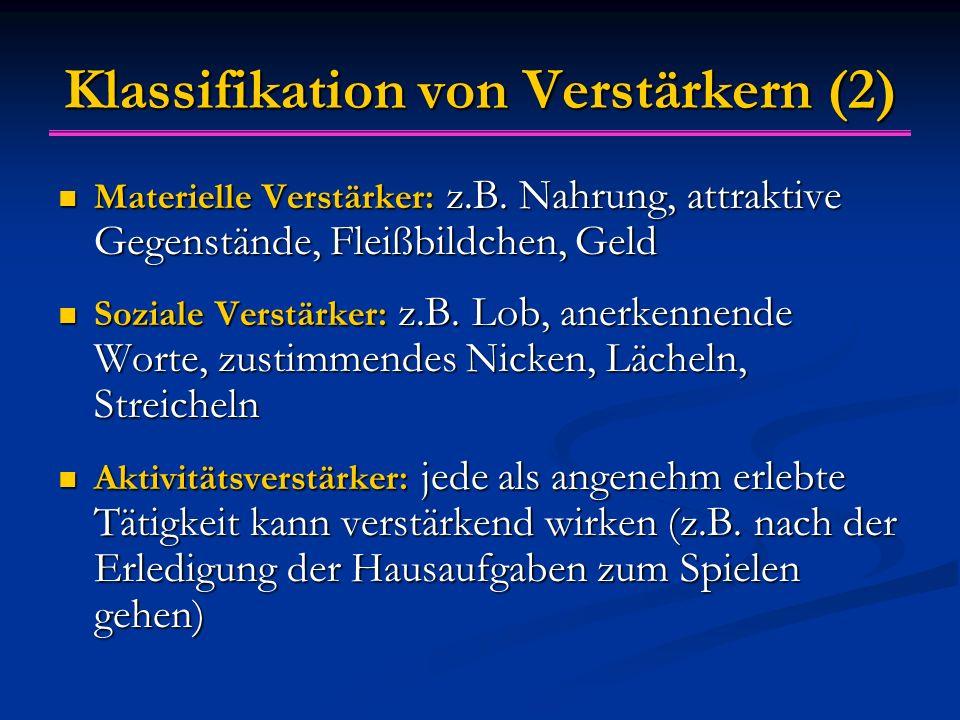 Klassifikation von Verstärkern (2) Materielle Verstärker: z.B. Nahrung, attraktive Gegenstände, Fleißbildchen, Geld Materielle Verstärker: z.B. Nahrun