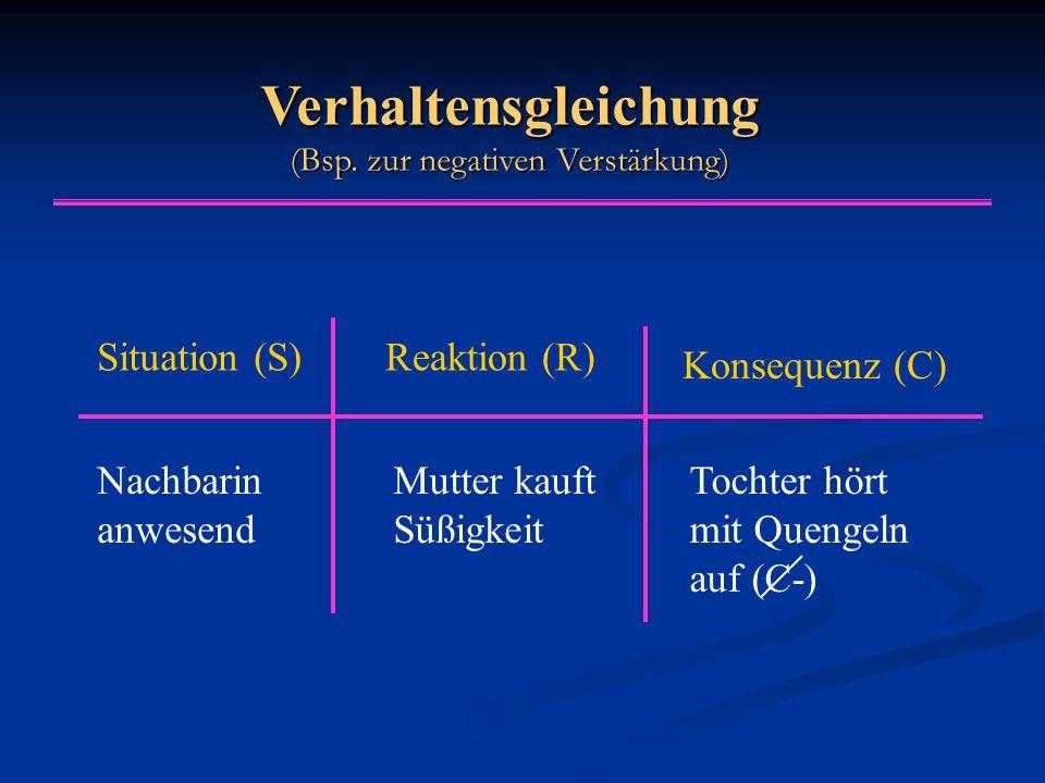Verhaltensgleichung (Bsp. zur negativen Verstärkung) Situation (S)Reaktion (R) Konsequenz (C) Nachbarin anwesend Mutter kauft Süßigkeit Tochter hört m