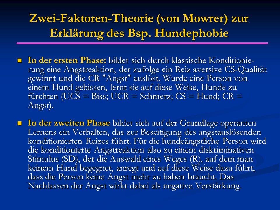 Zwei-Faktoren-Theorie (von Mowrer) zur Erklärung des Bsp. Hundephobie In der ersten Phase: bildet sich durch klassische Konditionie- rung eine Angstre