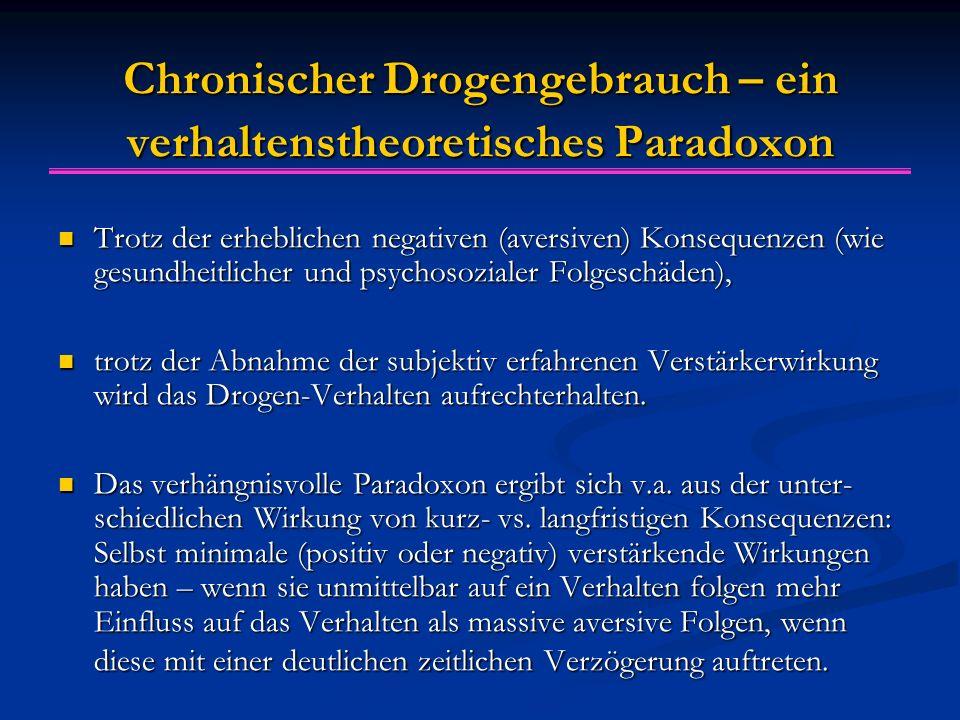 Chronischer Drogengebrauch – ein verhaltenstheoretisches Paradoxon Trotz der erheblichen negativen (aversiven) Konsequenzen (wie gesundheitlicher und