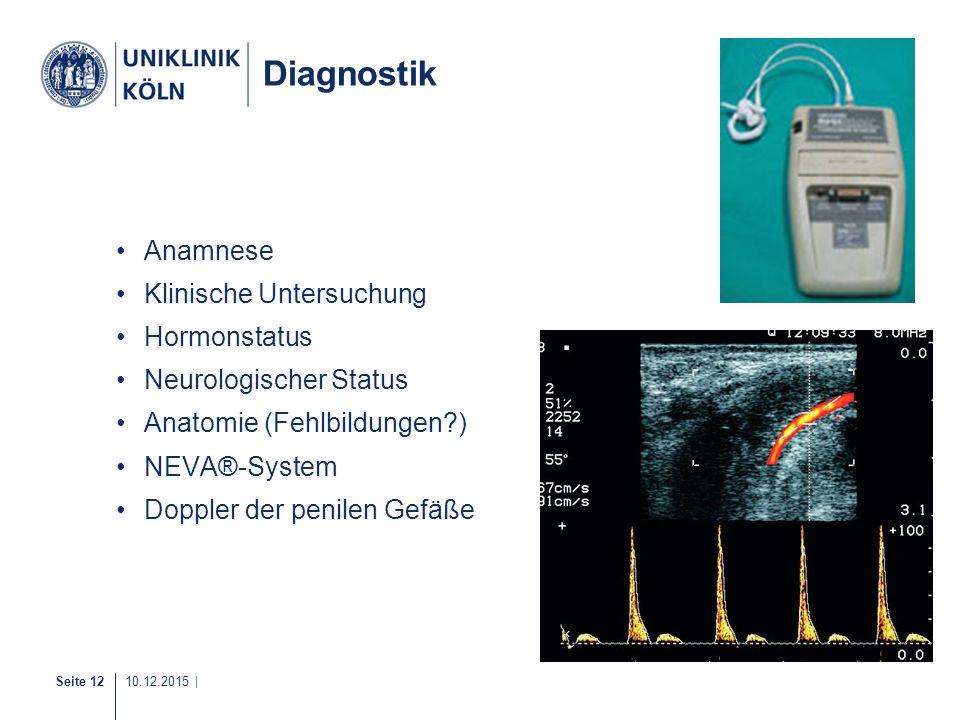Seite 12 10.12.2015 | Diagnostik Anamnese Klinische Untersuchung Hormonstatus Neurologischer Status Anatomie (Fehlbildungen?) NEVA®-System Doppler der