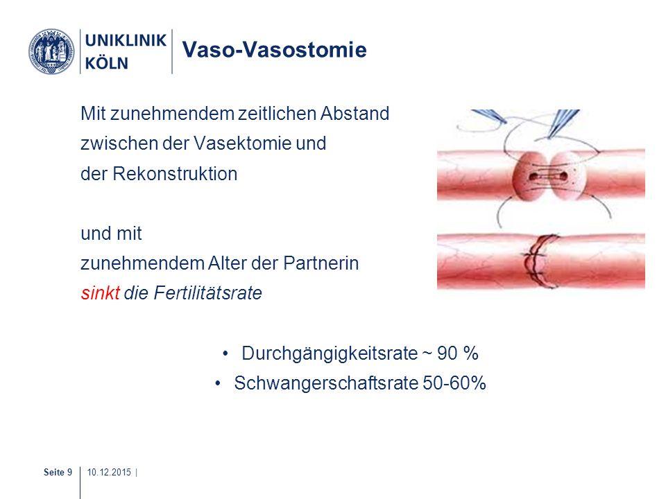 Seite 9 10.12.2015 | Vaso-Vasostomie Mit zunehmendem zeitlichen Abstand zwischen der Vasektomie und der Rekonstruktion und mit zunehmendem Alter der P
