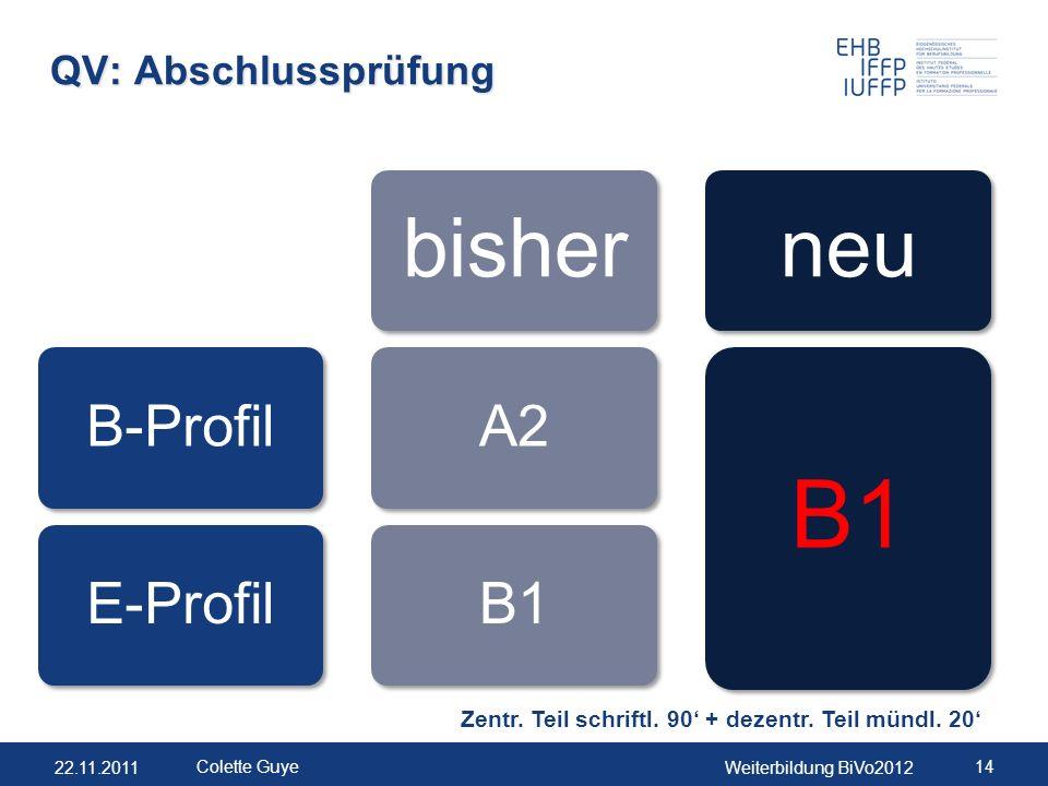 22.11.2011Weiterbildung BiVo2012 14 Colette Guye QV: Abschlussprüfung B-ProfilE-Profil bisher A2B1 neu B1 Zentr. Teil schriftl. 90' + dezentr. Teil mü