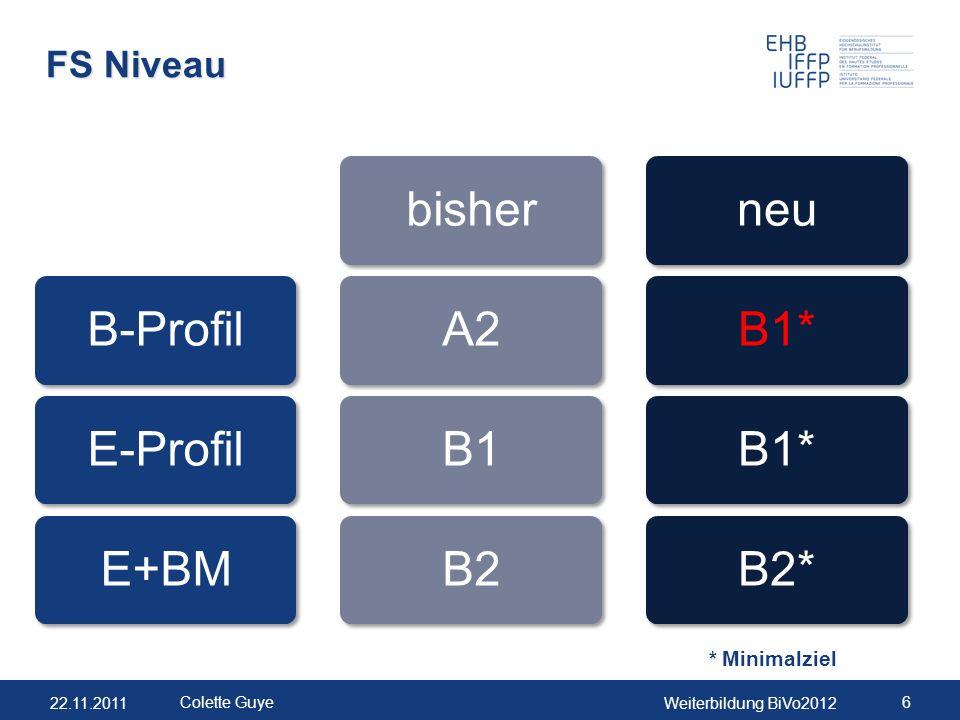 22.11.2011Weiterbildung BiVo2012 6 Colette Guye FS Niveau * Minimalziel