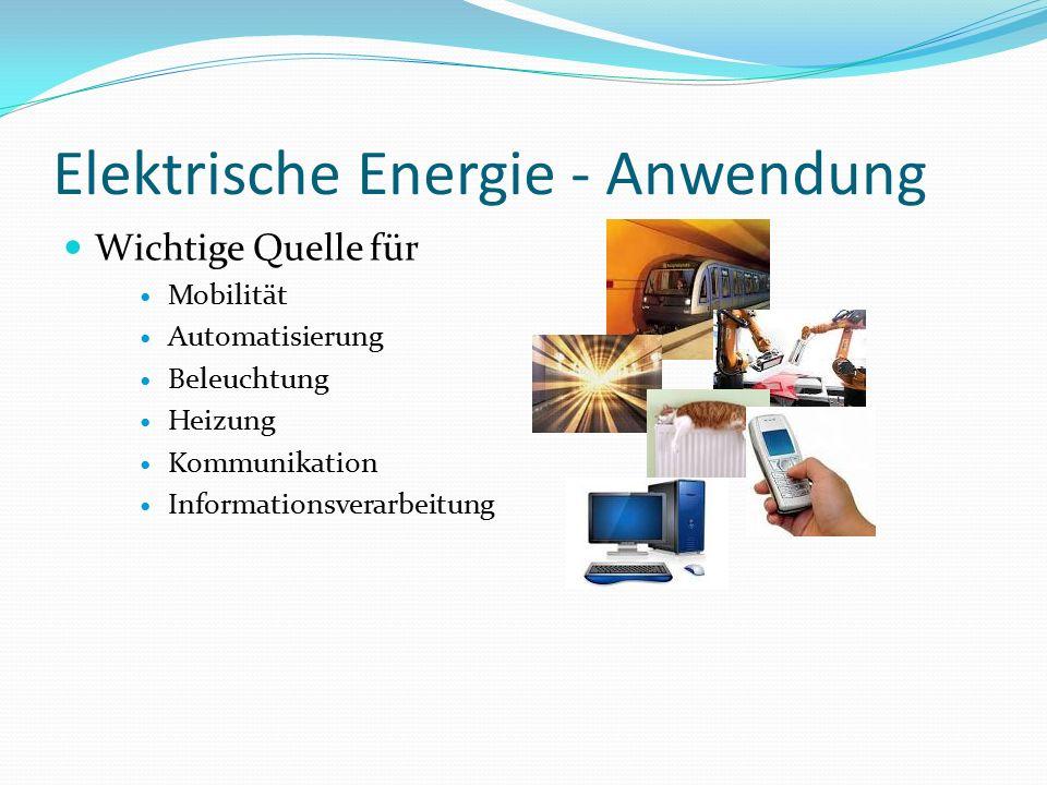 Elektrische Energie - Anwendung Wichtige Quelle für Mobilität Automatisierung Beleuchtung Heizung Kommunikation Informationsverarbeitung