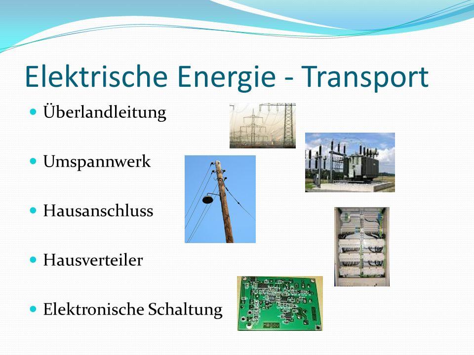 Elektrische Energie - Erzeugung Generator Kernenergie Wasserkraft Fossile Energie Windkraft Solarmodul Chemische Batterie/ Akkumulator Reibung
