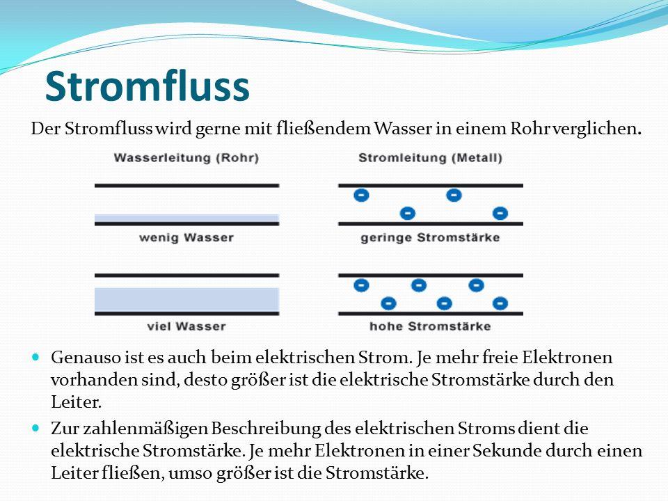 Stromfluss Der Stromfluss wird gerne mit fließendem Wasser in einem Rohr verglichen.