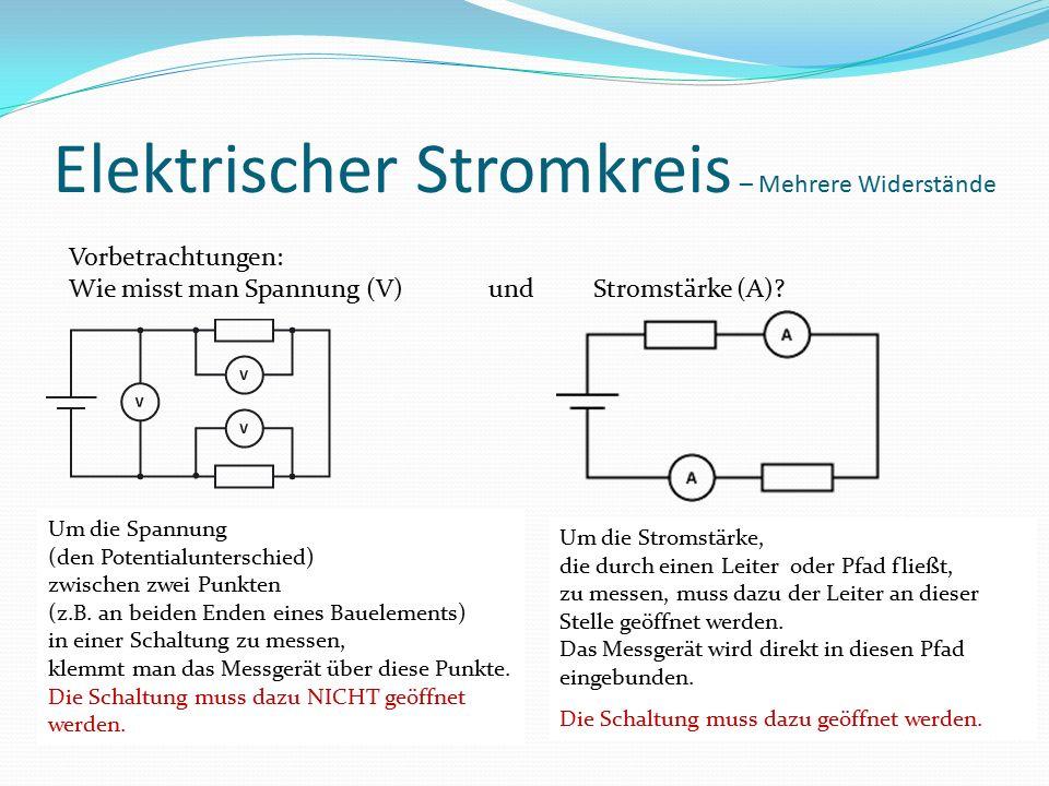 Elektrischer Stromkreis – Mehrere Widerstände Vorbetrachtungen: Wie misst man Spannung (V) und Stromstärke (A).