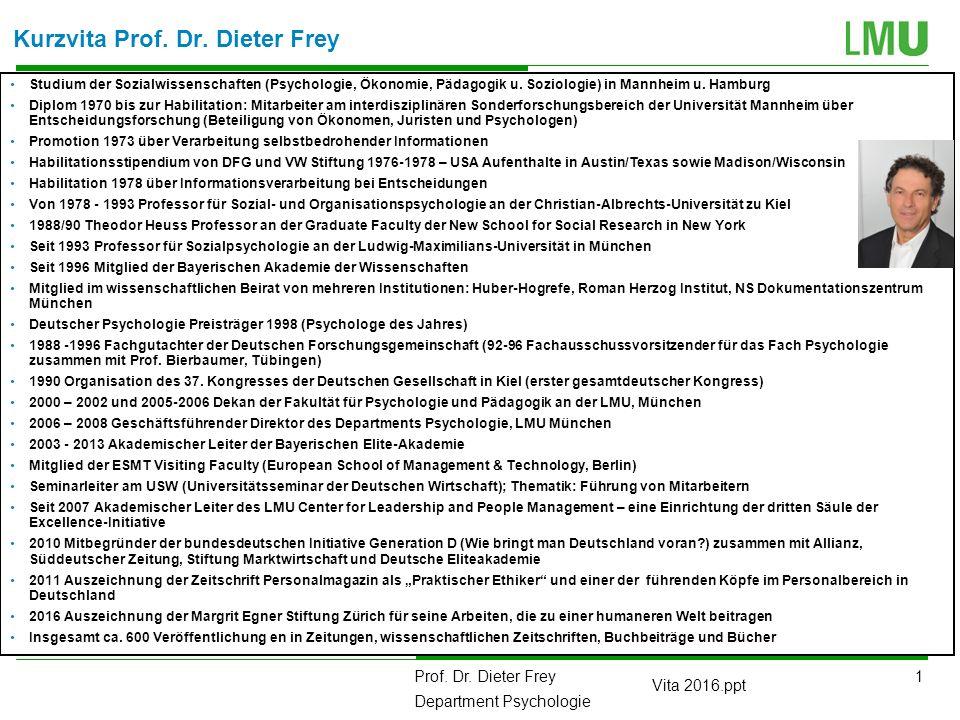 2 Prof.Dr. Dieter Frey Department Psychologie Vita 2016.ppt Kurzvita von Prof.