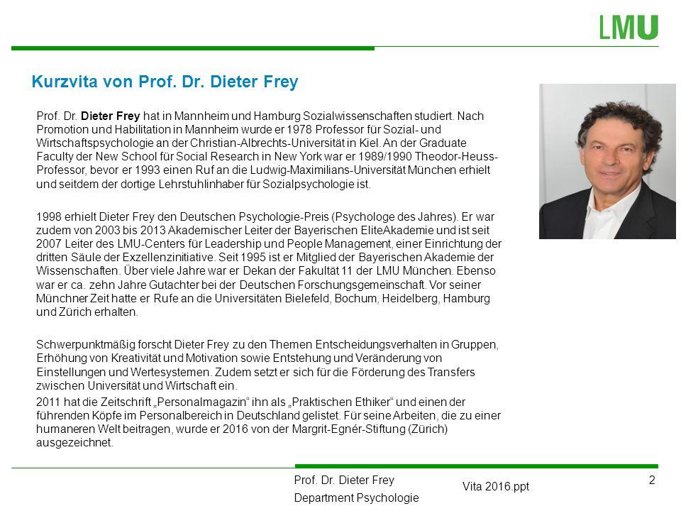 2 Prof. Dr. Dieter Frey Department Psychologie Vita 2016.ppt Kurzvita von Prof.