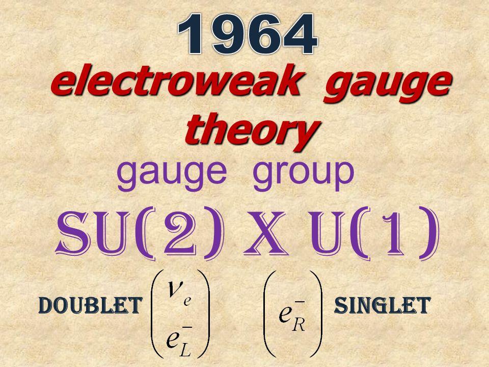 electroweak gauge theory gauge group SU(2) x U(1) doubletsinglet