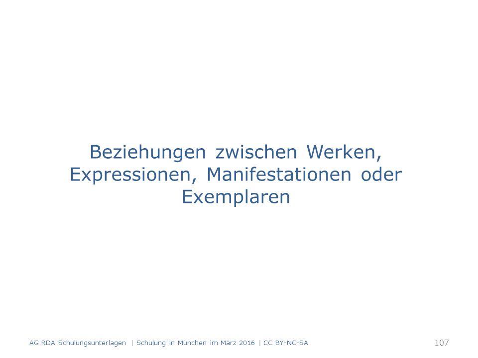 Beziehungen zwischen Werken, Expressionen, Manifestationen oder Exemplaren 107 AG RDA Schulungsunterlagen | Schulung in München im März 2016 | CC BY-NC-SA