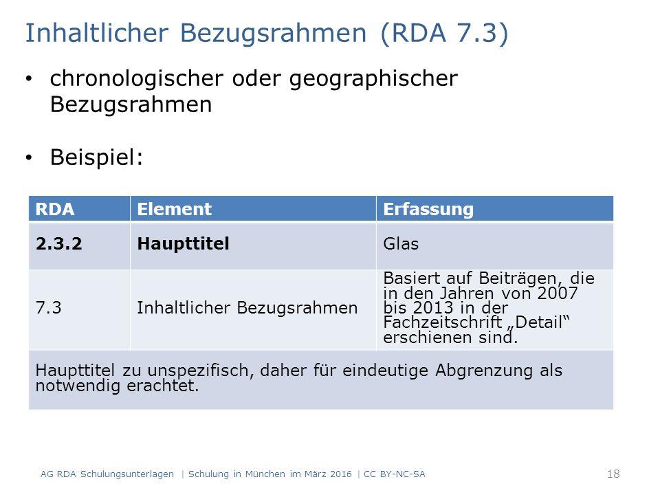 RDAElementErfassung 2.3.2HaupttitelGlas 7.3Inhaltlicher Bezugsrahmen Basiert auf Beiträgen, die in den Jahren von 2007 bis 2013 in der Fachzeitschrift