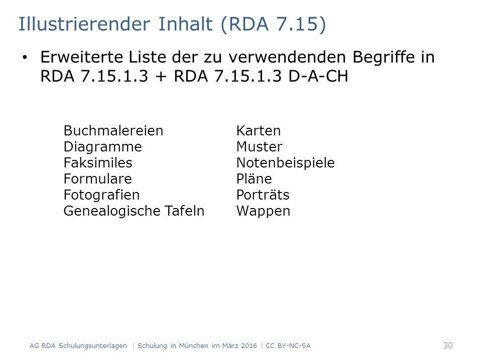 Erweiterte Liste der zu verwendenden Begriffe in RDA 7.15.1.3 + RDA 7.15.1.3 D-A-CH Illustrierender Inhalt (RDA 7.15) Buchmalereien Diagramme Faksimil