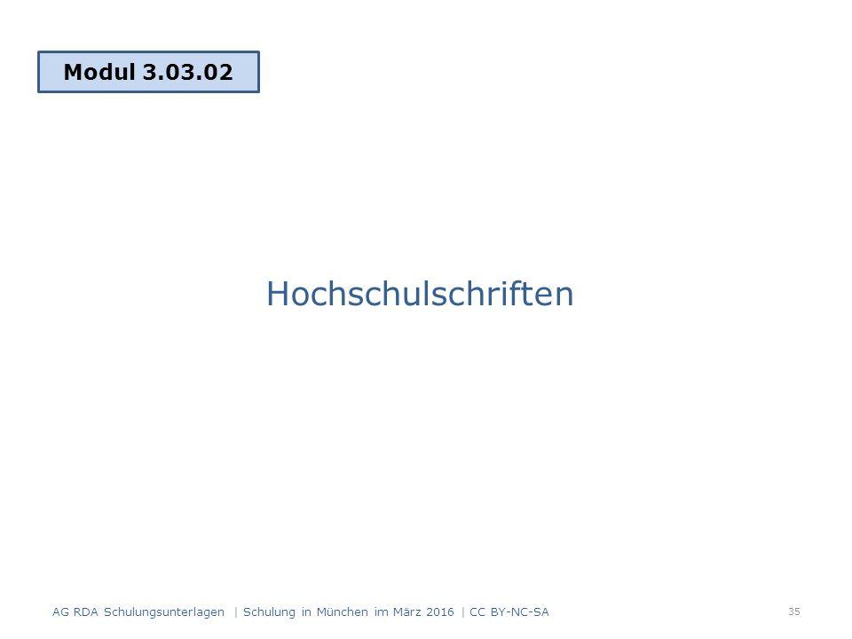 Hochschulschriften Modul 3.03.02 35 AG RDA Schulungsunterlagen | Schulung in München im März 2016 | CC BY-NC-SA