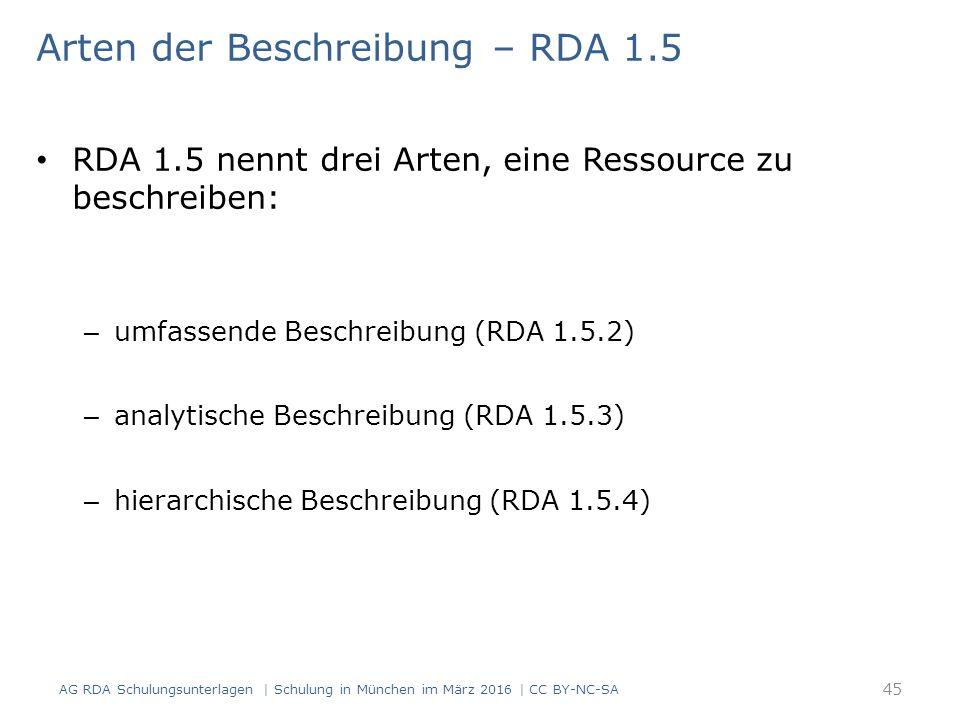 Arten der Beschreibung – RDA 1.5 RDA 1.5 nennt drei Arten, eine Ressource zu beschreiben: – umfassende Beschreibung (RDA 1.5.2) – analytische Beschreibung (RDA 1.5.3) – hierarchische Beschreibung (RDA 1.5.4) 45 AG RDA Schulungsunterlagen | Schulung in München im März 2016 | CC BY-NC-SA