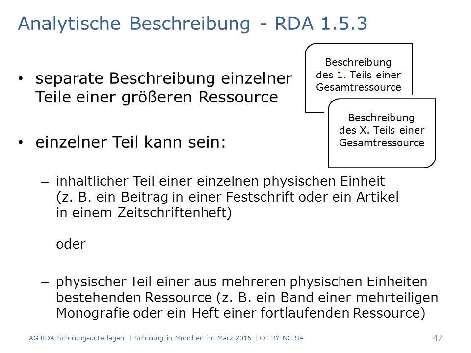Analytische Beschreibung - RDA 1.5.3 separate Beschreibung einzelner Teile einer größeren Ressource einzelner Teil kann sein: – inhaltlicher Teil einer einzelnen physischen Einheit (z.