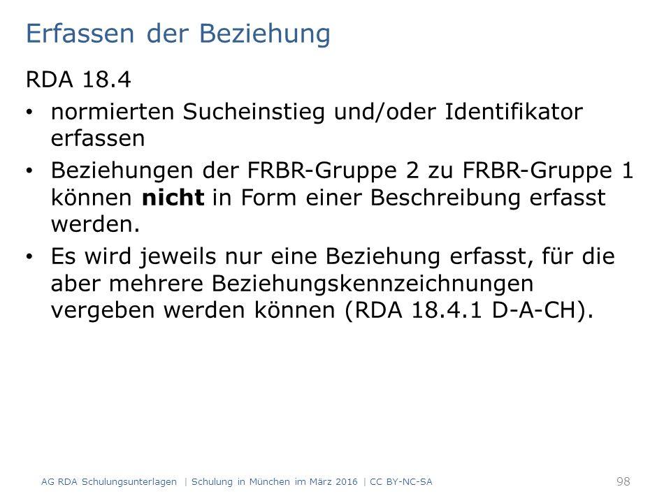 Erfassen der Beziehung RDA 18.4 normierten Sucheinstieg und/oder Identifikator erfassen Beziehungen der FRBR-Gruppe 2 zu FRBR-Gruppe 1 können nicht in