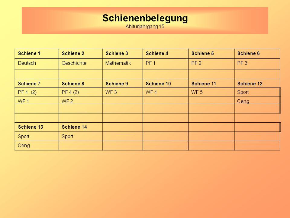 Schienenbelegung Abiturjahrgang 15 Schiene 1Schiene 2Schiene 3Schiene 4Schiene 5Schiene 6 DeutschGeschichteMathematikPF 1PF 2PF 3 Schiene 7Schiene 8Schiene 9Schiene 10Schiene 11Schiene 12 PF 4 (2) WF 3WF 4WF 5Sport WF 1WF 2Ceng Schiene 13Schiene 14 Sport Ceng