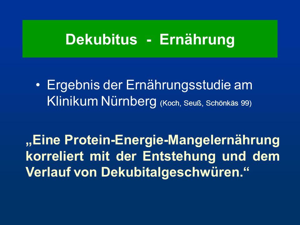 """Ergebnis der Ernährungsstudie am Klinikum Nürnberg (Koch, Seuß, Schönkäs 99) """"Eine Protein-Energie-Mangelernährung korreliert mit der Entstehung und d"""