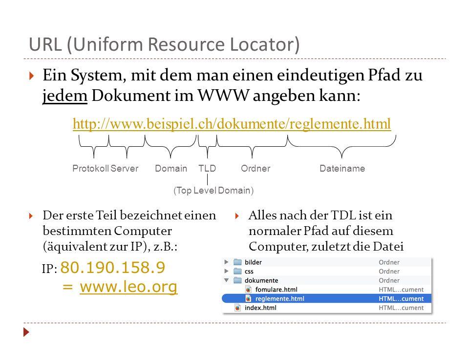  Ein System, mit dem man einen eindeutigen Pfad zu jedem Dokument im WWW angeben kann: Protokoll Server Domain TLD Ordner Dateiname (Top Level Domain) http://www.beispiel.ch/dokumente/reglemente.html URL (Uniform Resource Locator)  Der erste Teil bezeichnet einen bestimmten Computer (äquivalent zur IP), z.B.: IP: 80.190.158.9 = www.leo.org  Alles nach der TDL ist ein normaler Pfad auf diesem Computer, zuletzt die Datei